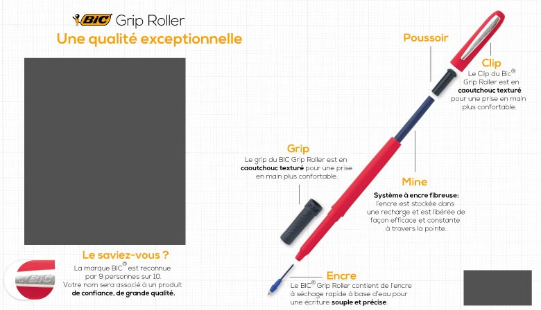 Grip Roller Bic Silver Gold Publicitaire